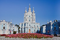 Russia, Europe, Saint Petersburg, Peterburg, City, Smolny, Monastery, blue, church, domes, Italian architecture, monastery, unesco, white