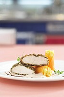 Roast corn_fed chicken with a pumpkin crust with pumpkin and saffron herb cannelloni