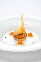 Pumpkin sorbet on sablé French shortbread