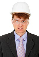 Engineer in protective helmet and goggles