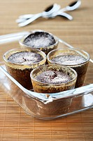 Chocolate cakes in glasses