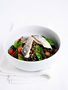 Lentil salad with trout