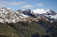 Aerial view of the Southern Alps mountain range in Fiordland National Park  New Zealand
