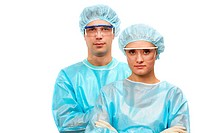 Portrait of two surgeons, a man and a woman isolated on white