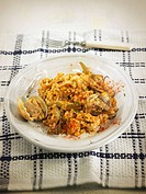 Arroz meloso fried rice, Spain with mussels