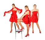 Three young blonde girls in red dress and boa, collage