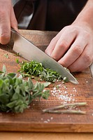 Herbs being chopped