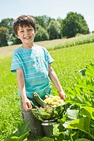 Germany, Bavaria, Boy holding vegetables in garden, smiling, portrait