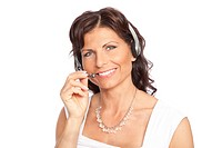 woman speaking to headset
