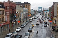 View of a street from 125th Street Train Station, Harlem, Manhattan, New York City