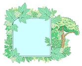 Green nature placard with leaves