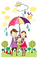 Portrait of family in rainy season