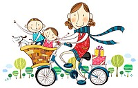 Mother &amp; children on bicycle