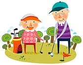 Elderly couple playing golf (thumbnail)