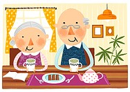 Elderly couple taking breakfast