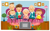 Large family watching television at home
