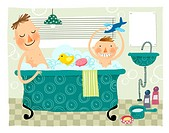 Father &amp; boy child taking bath in bath tub