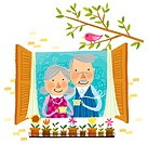 Elderly couple drinking cup of tea beside window (thumbnail)