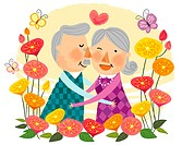 Elderly couple expressing love (thumbnail)