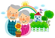 portrait of elderly couple holding flower pot