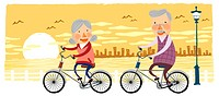 Elderly couple riding bicycle