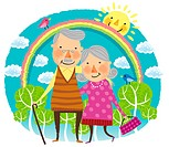 Happy elderly couple portrait