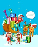 Girls standing near a sleigh of Christmas presents (thumbnail)