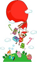 Girl in a Santa costume flying with a gift bag