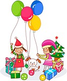 Two girls playing with balloons near Christmas presents (thumbnail)