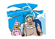 Man holding a ski pole with a woman standing behind him