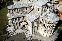 Piazza dei Miracoli, aerial view of the Duomo from the leaning tower, Pisa, Tuscany, Italy