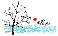 Scenery sketch on white background