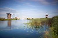 Landscape with windmills, Kinderdijk, Nieuw_Lekkerland, Holland.
