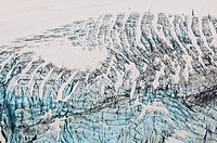Aerial view of snow_filled crevasses on a glacier in Chugach Mountains, Southcentral Alaska, Summer