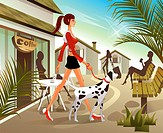 Woman walking with dog with cafe in background