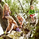 Girls relaxing in tree by lake