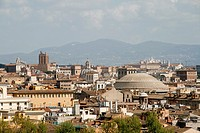 panorama of rome from castel sant angelo rooftop