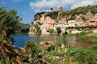 Ebro river and Miravet village. Catalonia, Spain