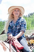 Blonde Girl Riding Horse, Close_Up