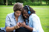 Couple listening to mp3 player together