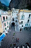 Italy, Campania, Amalfi coast, Atrani, Town Square ...