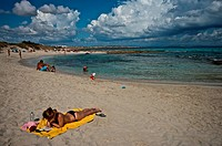 Spain, Balearic Islands, Formentera, the beach                                                                                                        ...