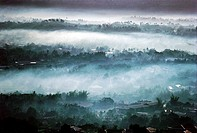 Local villages near Yogjakarta with an early morning blanket of fog.
