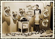 DIG Germany, Wilhelmshaven, around 1955, shop window, electrical business, advertisement, electric cooker, which decays most modern electric cooker, p...