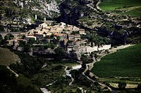Old french village surrounded by vineyards and rocks