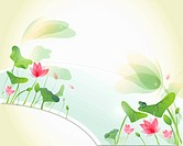 Note paper with lotus flowers and leaves