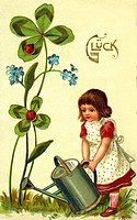 DIG Germany, 1903, symbol, luck, girl, child, children, watering can, flowers, pour, flower pouring, four_leaf, four_leaf, clover sheet, clover sheets...