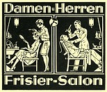 DIG Germany, around 1926, ladies and Mr. Frisier_Salon, historical cinema advertisement, comb, hairdresser, gentleman Mr., hairdresser, ladies´ hairdr...