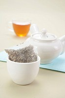 Tea bag, a tea pot and a cup of tea