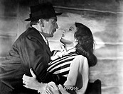"Film, ""at the end of the world"", Germany 1947, direction: Gustav Ucicky, scene with: Brigitte Horney and Attila Hörbiger, half figure, hat, embracing,..."